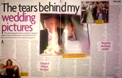 Claire Faulkner and husband Chris - story in womans own magazine