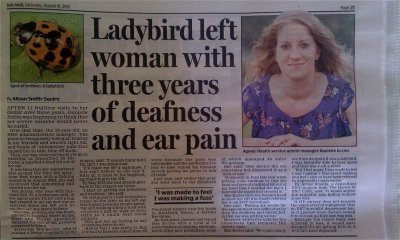 Danielle Eccles - Ladybird was in woman's ear for three years