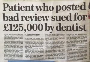 Patient sued by dentist after bad review