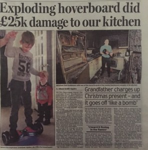 Hoverboard damage story daily mail