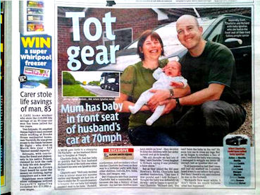 Mum has baby in front seat of 70mph car.