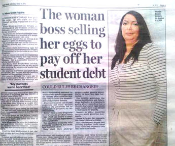 fertility story sold to newspaper