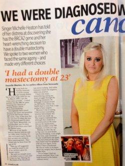 Michelle Heaton - had a double mastectomy at age 23