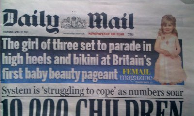 Baby beauty pageant appeared on the front cover of the Daily Mail