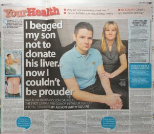 Liver donation, Daily Mirror