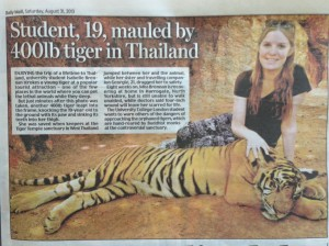 Mauled by tiger, Daily Mail