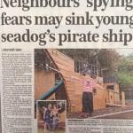 Pirate ship in garden