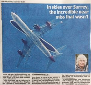 near miss plane story, daily mail